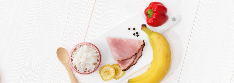 Recept - Flygande Kalle med ris, skinka & banan - Semper Barnmat