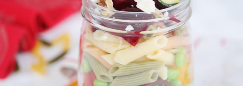 Glutenfri pasta-jar med chêvre & rödbeta