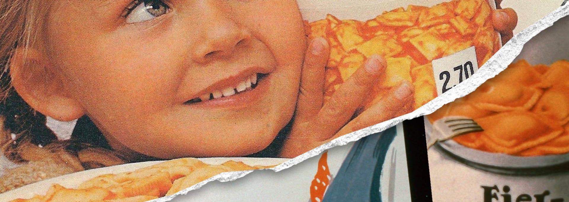 Retro Ravioli Plakat mit kleinem Mädchen