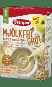 Mjölkfri gröt med havre, banan & äpple från Semper Barnmat