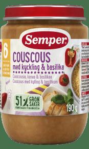 Couscous med kylling & basilikum fra 6 måneder - Semper Børnemad