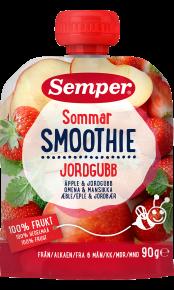 Smoothie Sommer Jordbær fra Semper Barnmat klemmepose