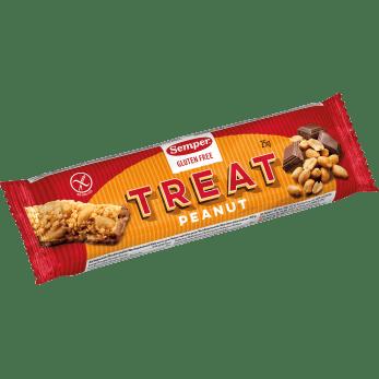 Semper Treat Jordnöt, en glutenfri bar med jordnöt och choklad