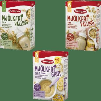 Mjölkfri välling och gröt från Semper