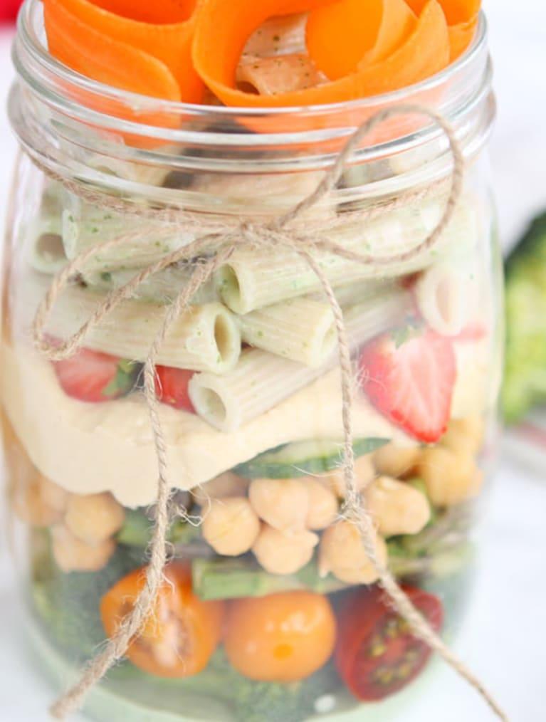 Vegansk och glutenfri pasta-jar i glasburk