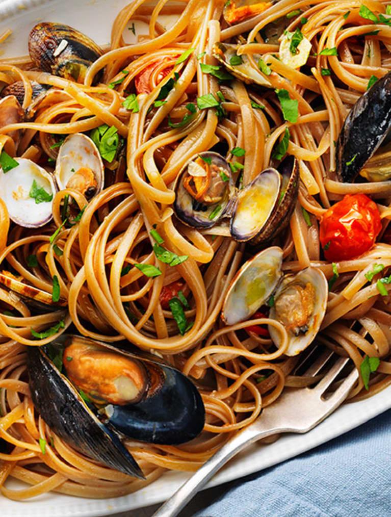 Glutenfri pasta med linguine frutti di mare