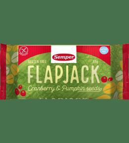 Semper Flapjack Tranbär & Pumpafrö, en glutenfri havrebar