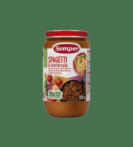 Spagettia & jauhelihakastiketta 12kk ateriapurkki