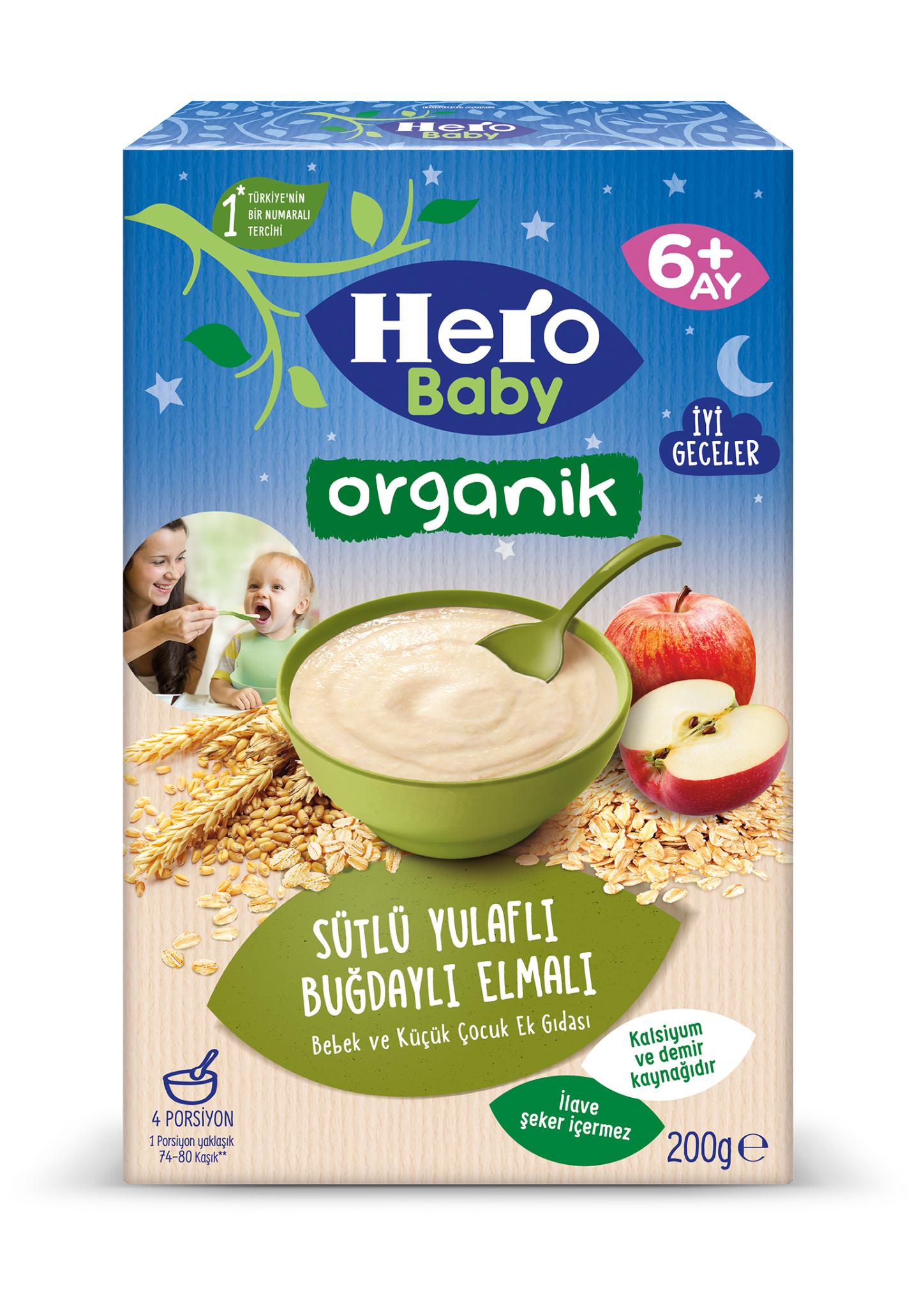 Organik Sütlü Yulaflı Buğdaylı Elmalı