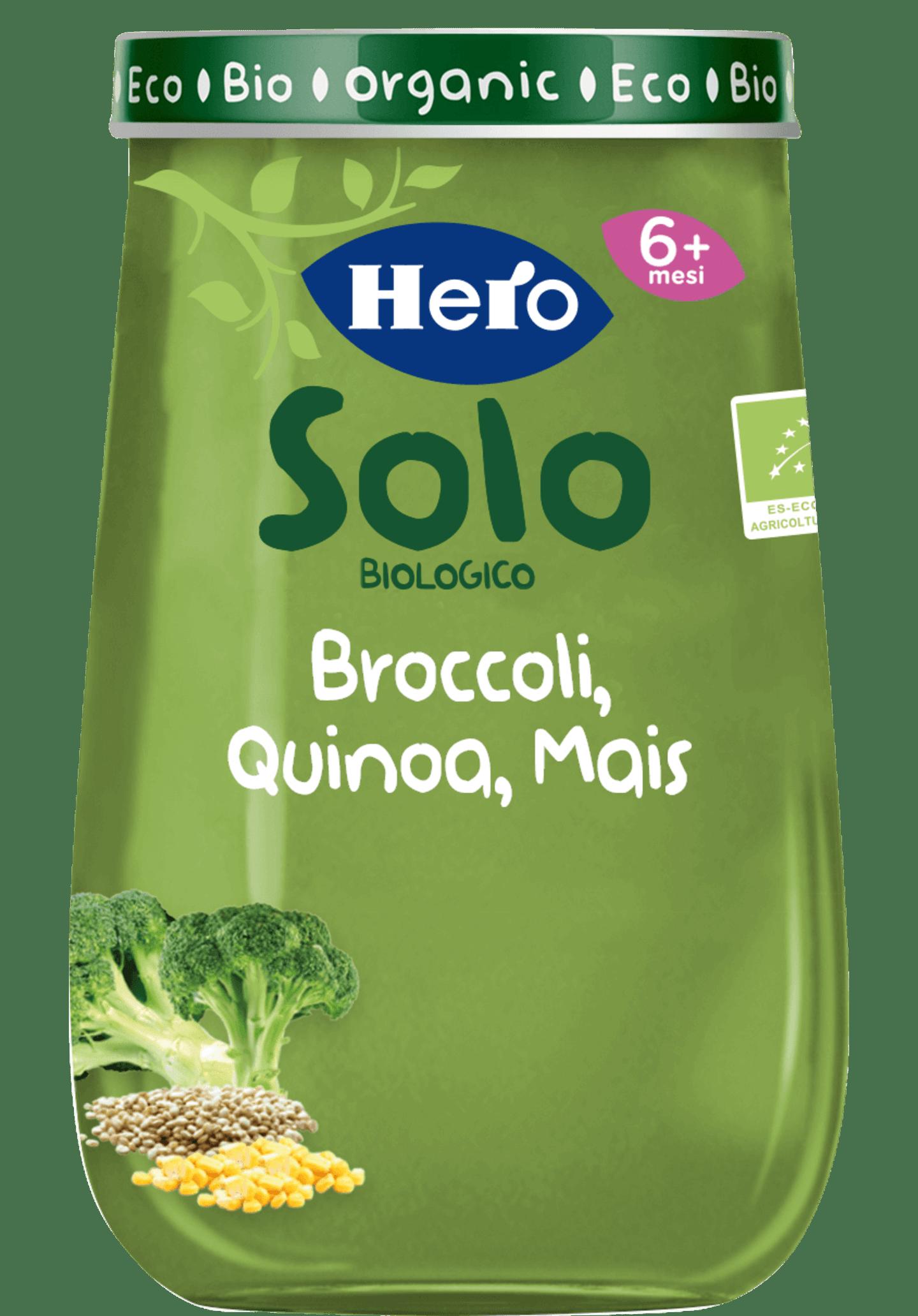 Omogeneizzato Broccoli, Quinoa, Mais biologici