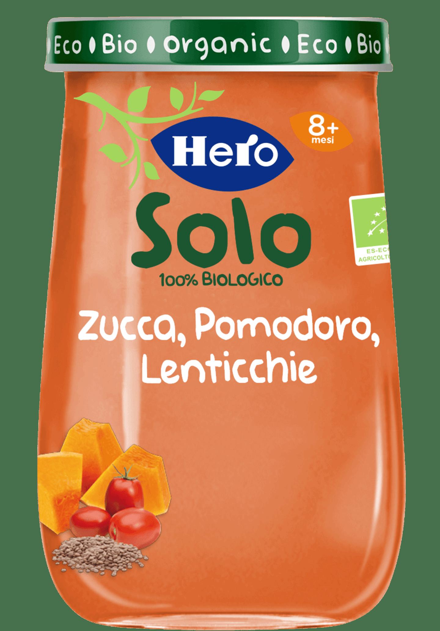 Omogeneizzato Zucca, Pomodoro e Lenticchie biologici