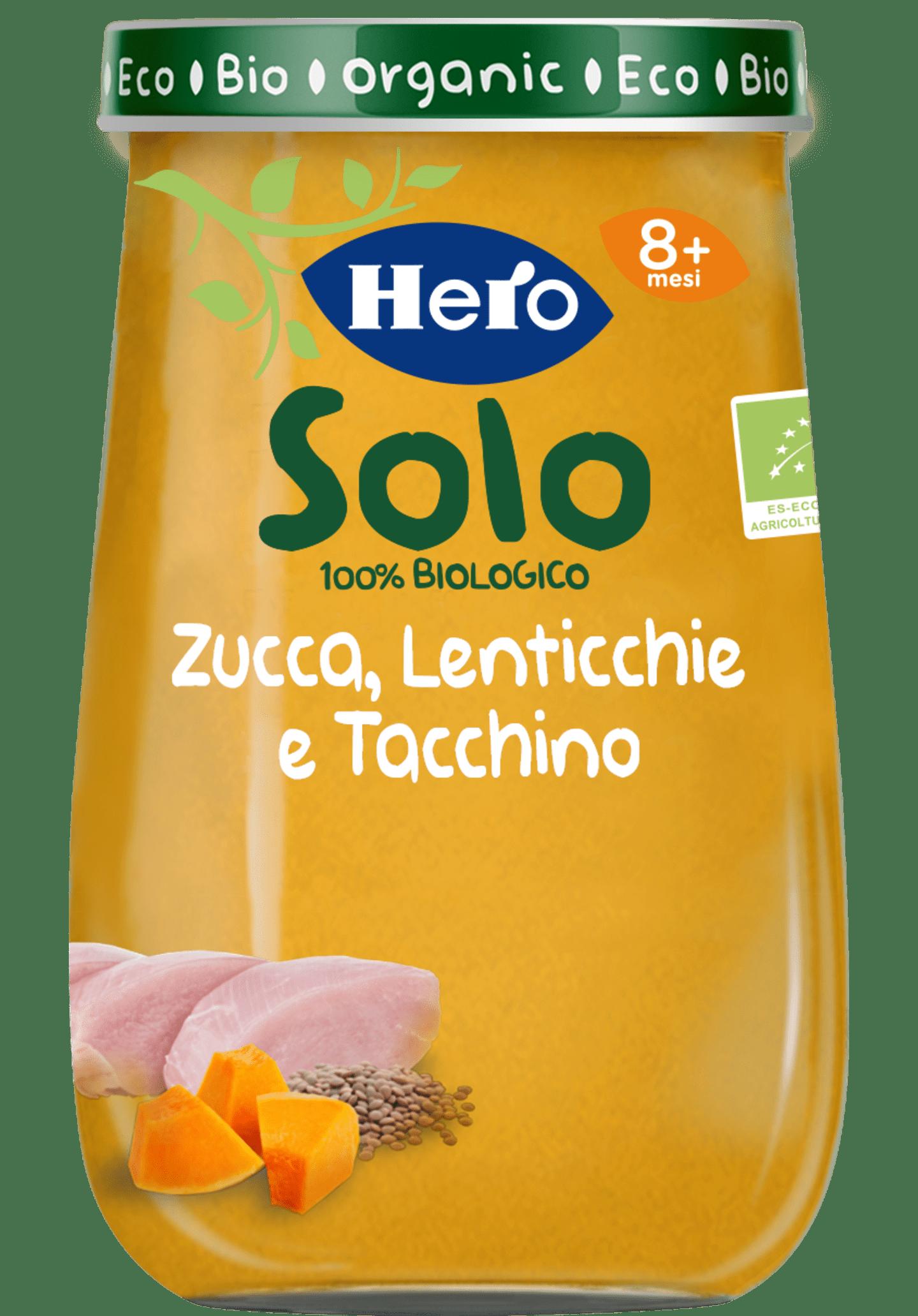 omogeneizzato hero solo zucca, lenticchie, tacchino