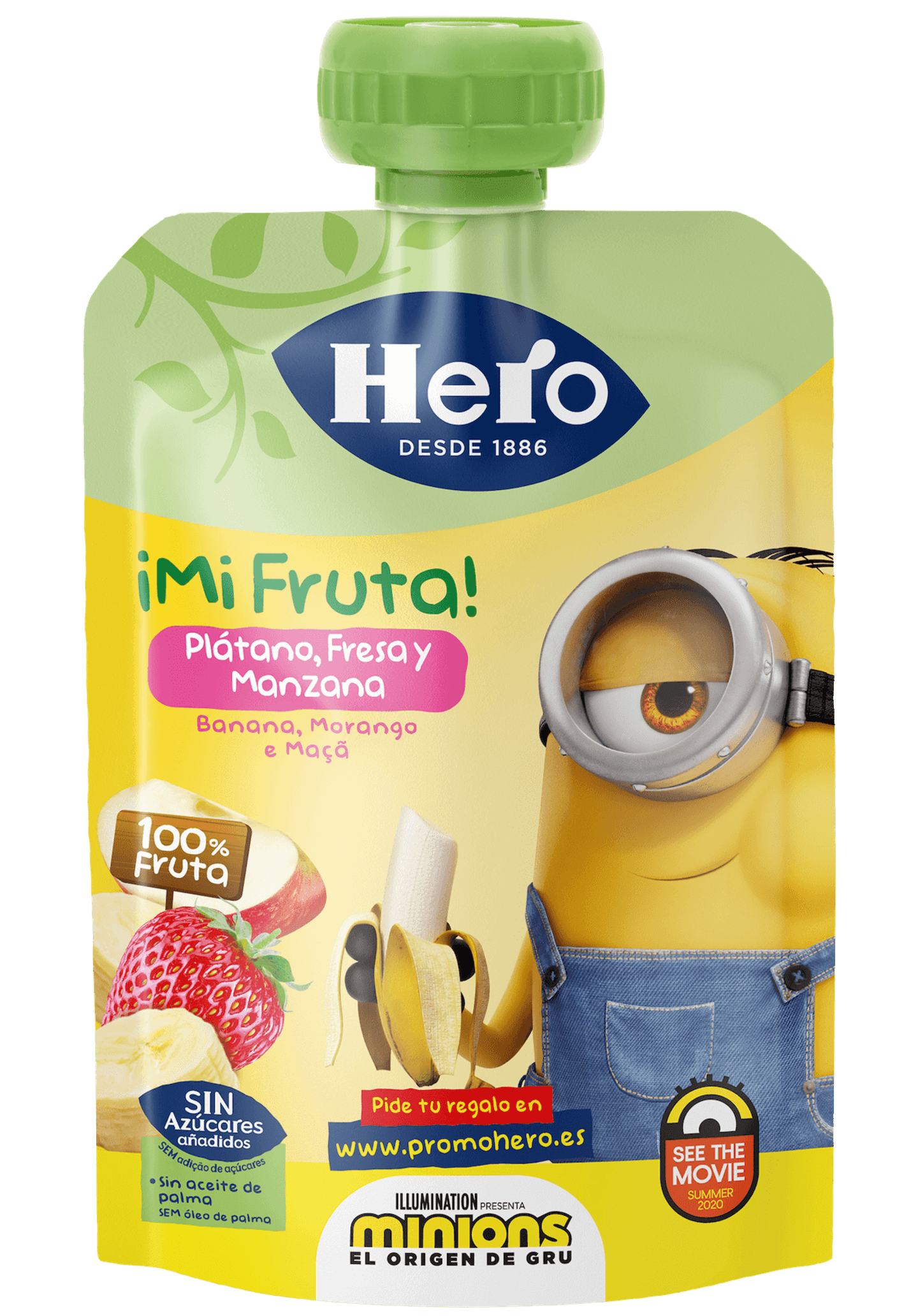 Saqueta Minions Banana, Morango e Maçã