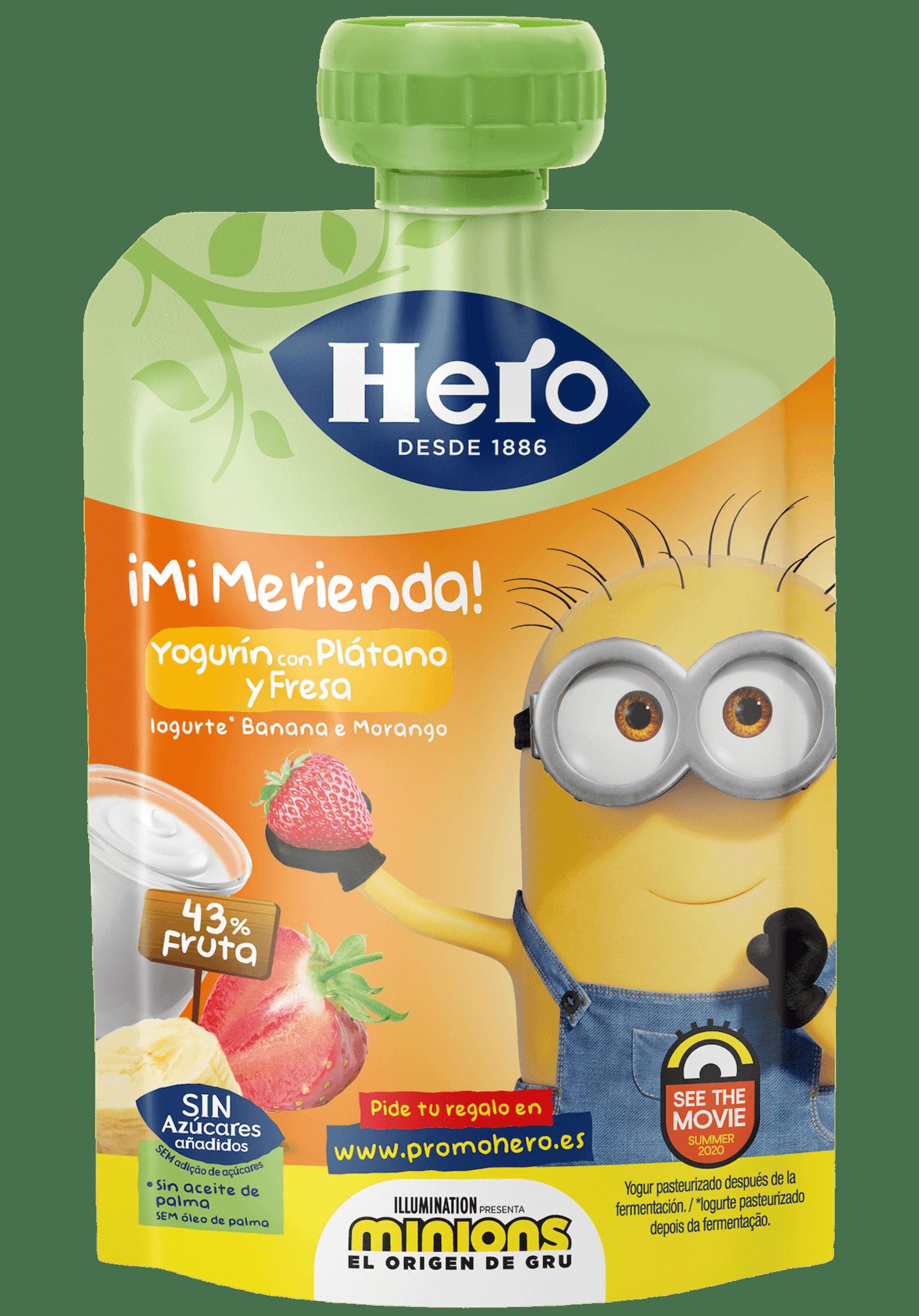 Saqueta Minions Iogurte, Banana e Morango
