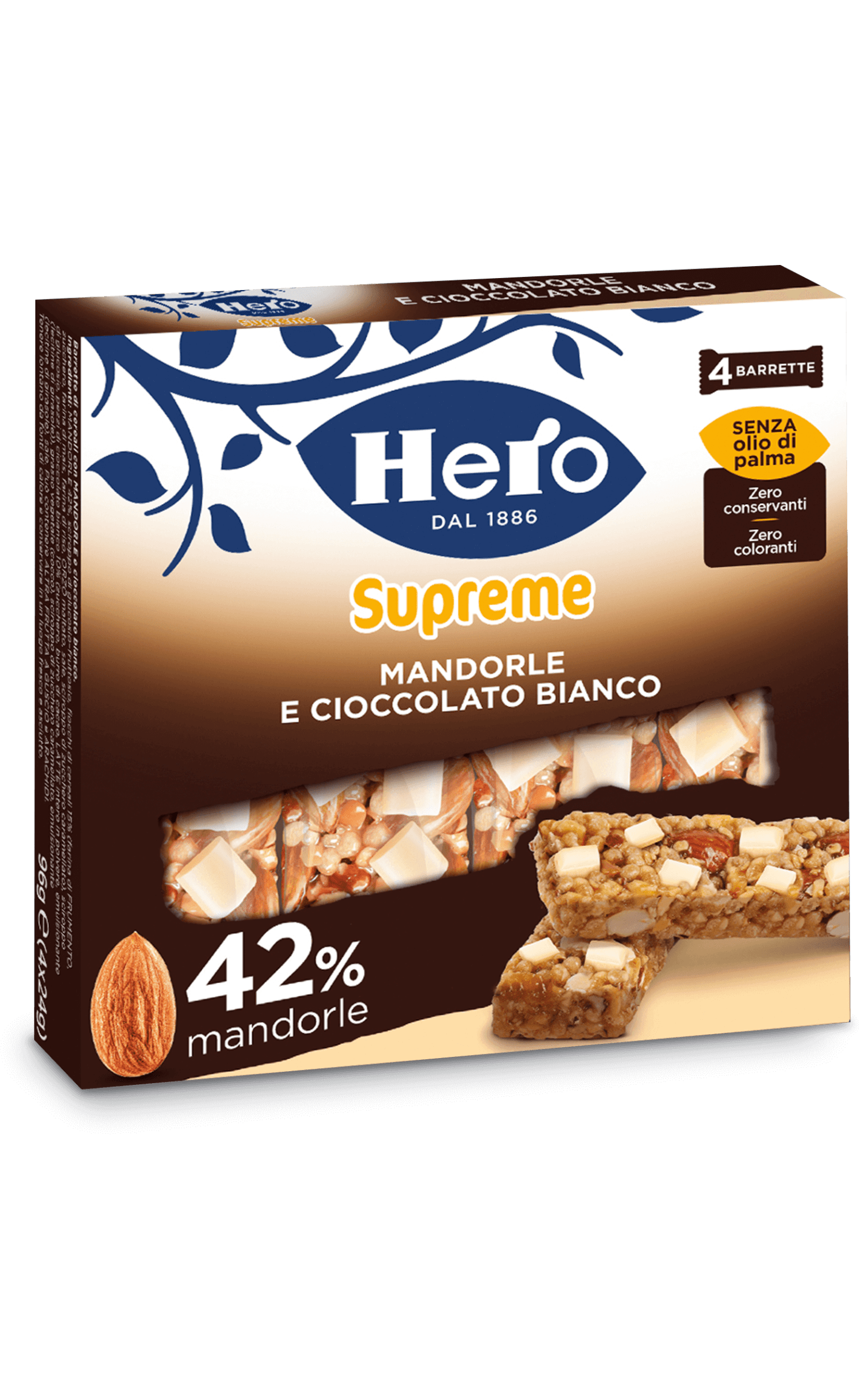 barrette-ai-cereali-supreme-hero-mandorle e cioccolato bianco