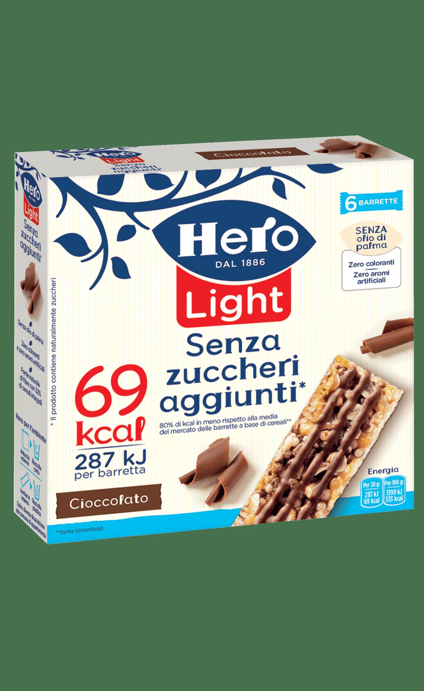 barrette ai cereali light hero cioccolato