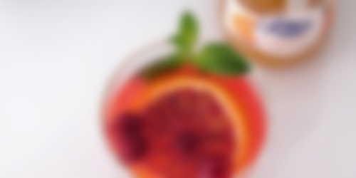 Refresco de naranja sanguina, limón y confitura de naranja dulce