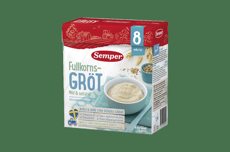 Fullkornsgröt mild & naturell 8m från Semper Barnmat