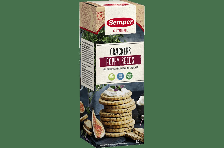 Cracky Poppy Seeds, glutenfria kex med vallmofrön från Semper