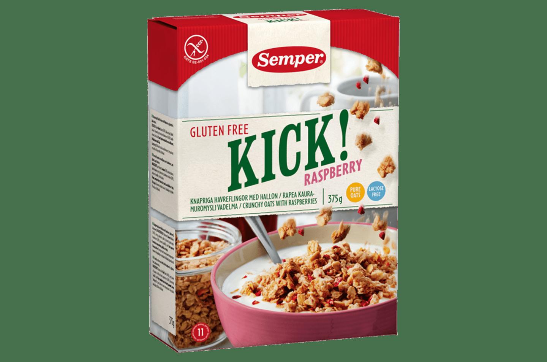 KICK! Raspberry, glutenfri granola med hallon