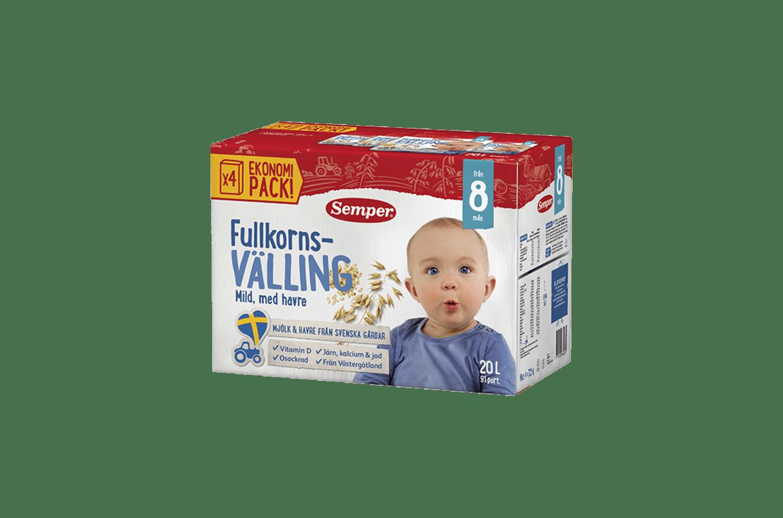Fullkornsvälling mild med havre 20L från Semper Barnmat