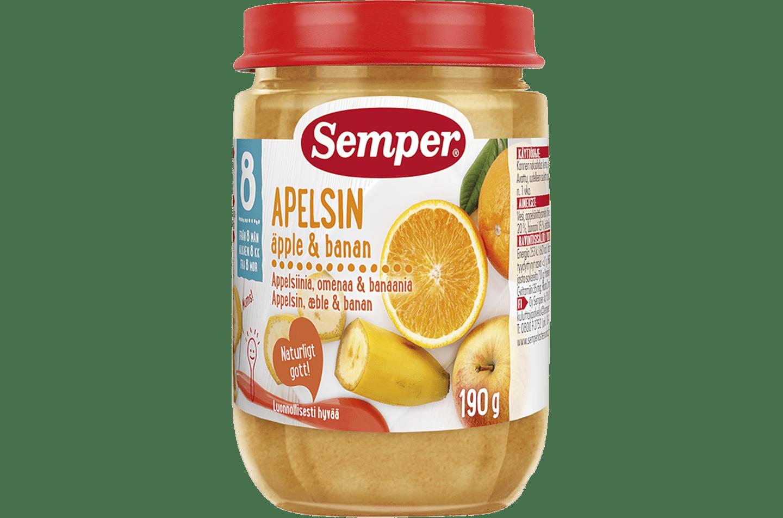 Apelsin, äpple & banan från Semper Barnmat