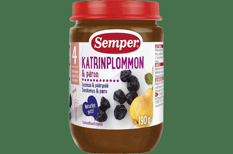 Katrinplommon & Päron 190g från Semper Barnmat