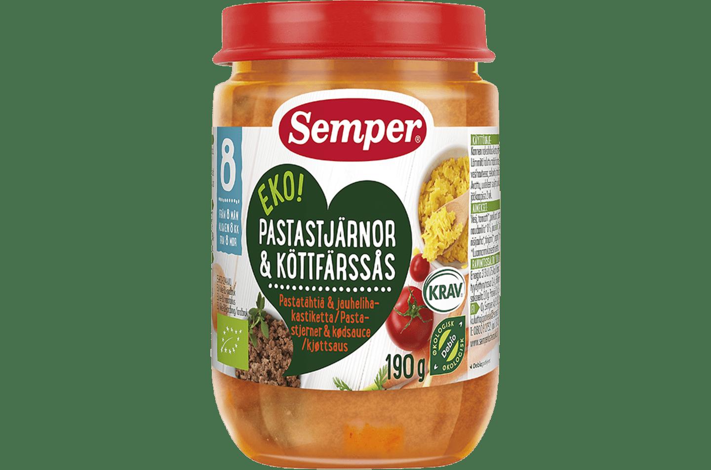 EKO Pastastjärnor & köttfärssås från Semper Barnmat