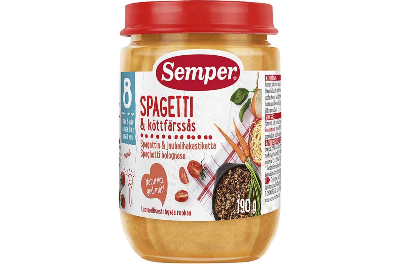 Spagetti & Köttfärssås 8M från Semper Barnmat