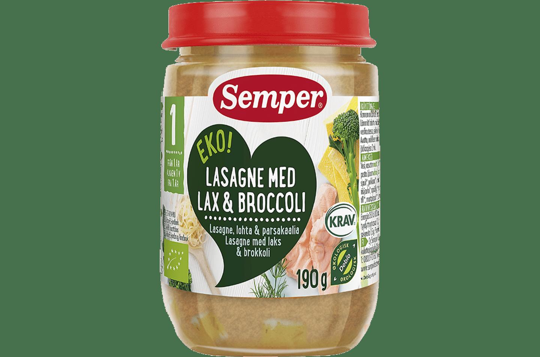 Lasagne med lax & broccoli från Semper Barnmat