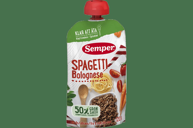 Spagetti Bolognese i klämpåse från Semper Barnmat