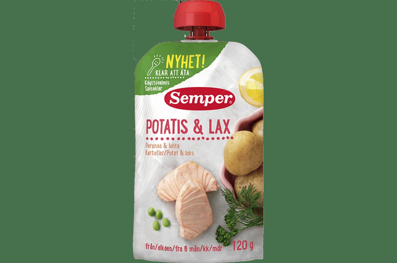 Potatis & lax i klämpåse från Semper Barnmat