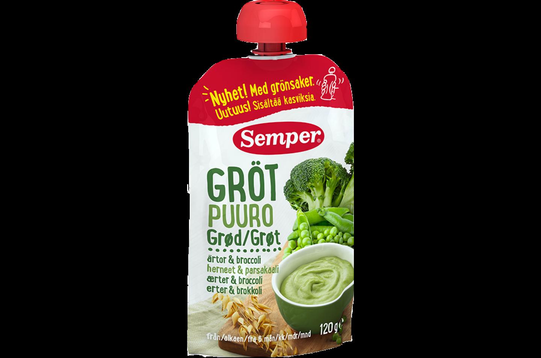 Ätklar gröt med ärtor & broccoli från Semper Barnmat