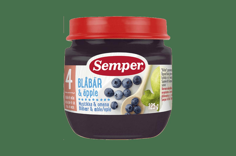 Blåbär & Äpple 4M från Semper Barnmat
