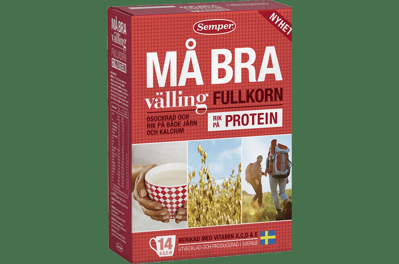 Semper Må Bra välling protein, röd förpackning med välling