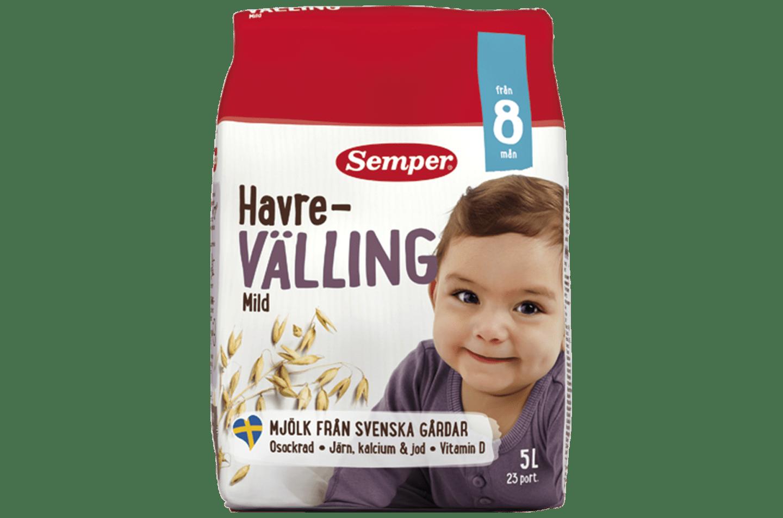 Havrevälling Mild från 8 mån från Semper Barnmat