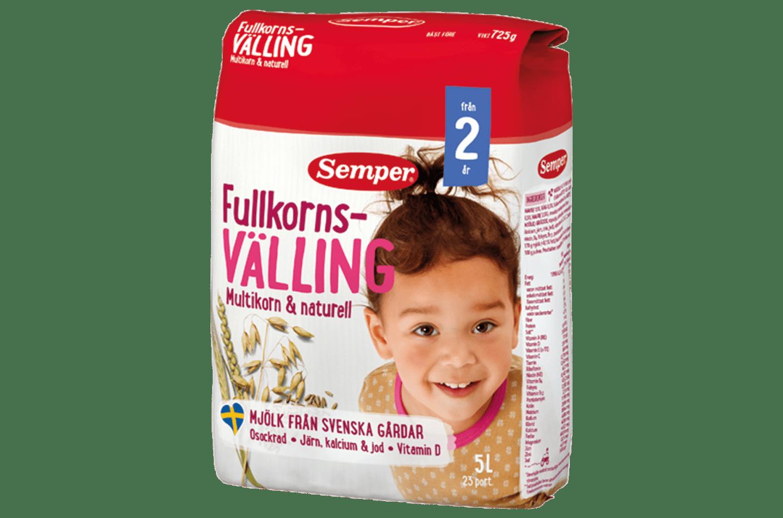 Fullkornsvälling multikorn & naturell 2 år, välling från Semper