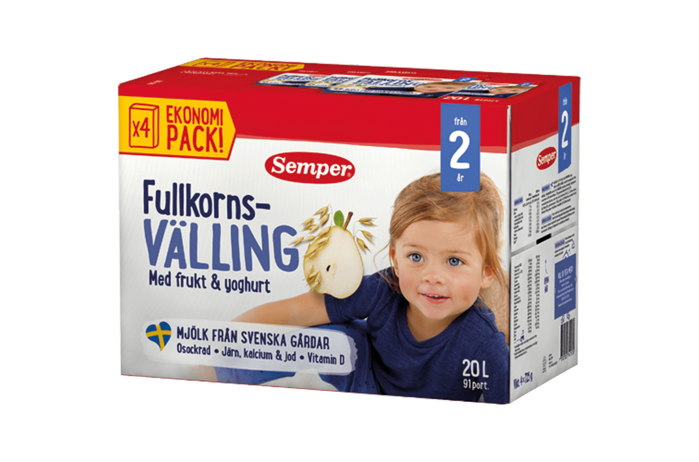 Semper Fullkornsvälling med frukt och yoghurt, från 2 år