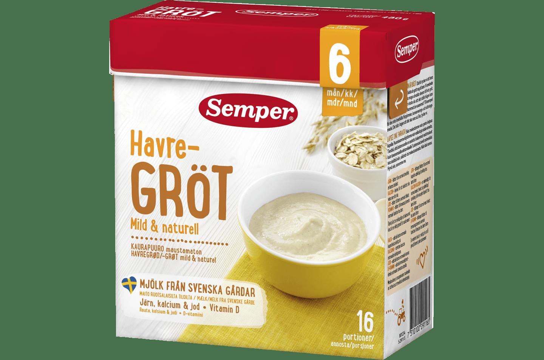 Havregröt mild & naturell 6M från Semper Barnmat