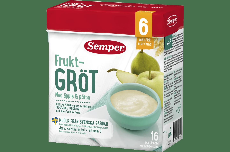 Fruktgröt med äpple & päron 6M från Semper Barnmat