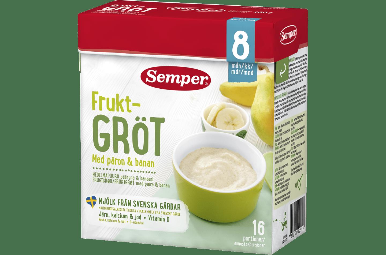 Fruktgröt med päron & banan 8M från Semper Barnmat
