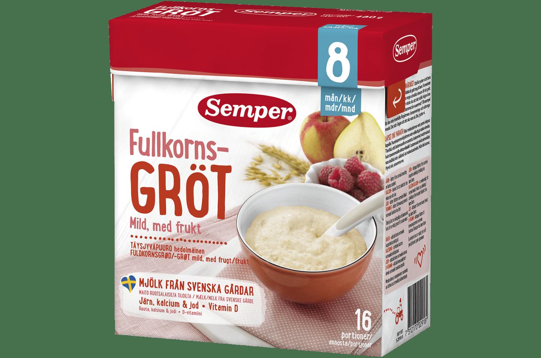 Fullkornsgröt mild med frukt 8m från Semper Barnmat