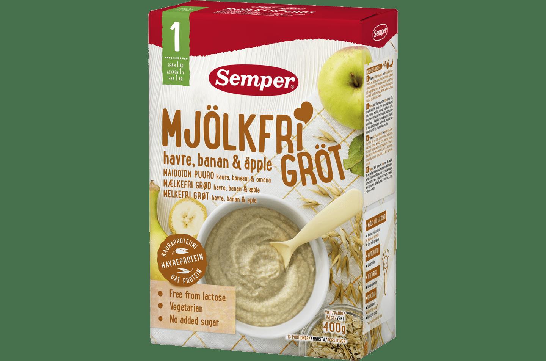 Mjölkfri gröt med havre, banan & äpple från Semper Nutrition