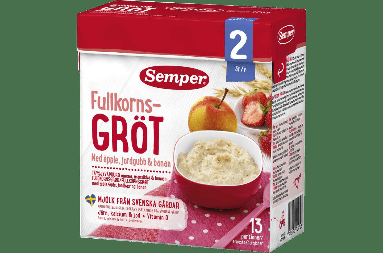 Fullkornsgröt med äpple, jordgubb & banan från Semper Barnmat