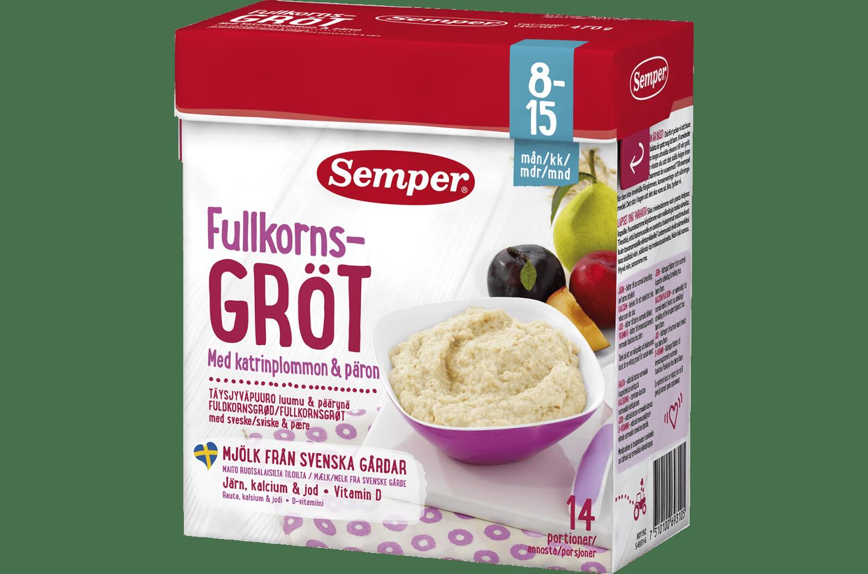 Fuldkornsgrød med sveske & pære fra 8-15 måneder - Semper Børnemad