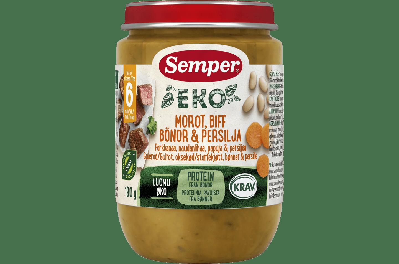 EKO Gulerod, bøf, bønner & persille fra Semper Børnemad