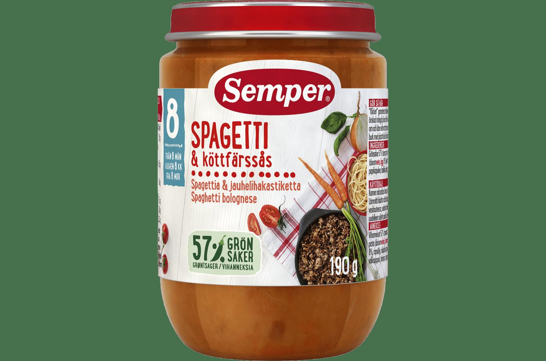 Spaghetti Bolognese med 57% grøntsager fra 8 måneder - Semper Børnemad