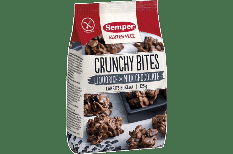Gluteeniton Crunchy Bites lakritsisuklaa Semperiltä
