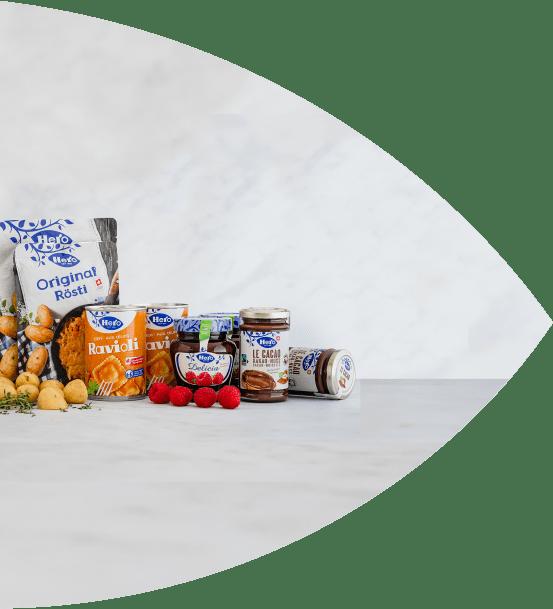 Hero Produkte Konfi, Le Cacao, Roesti und Ravioli