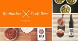 Collage von Rhabarber-Nachspeisen und Bier